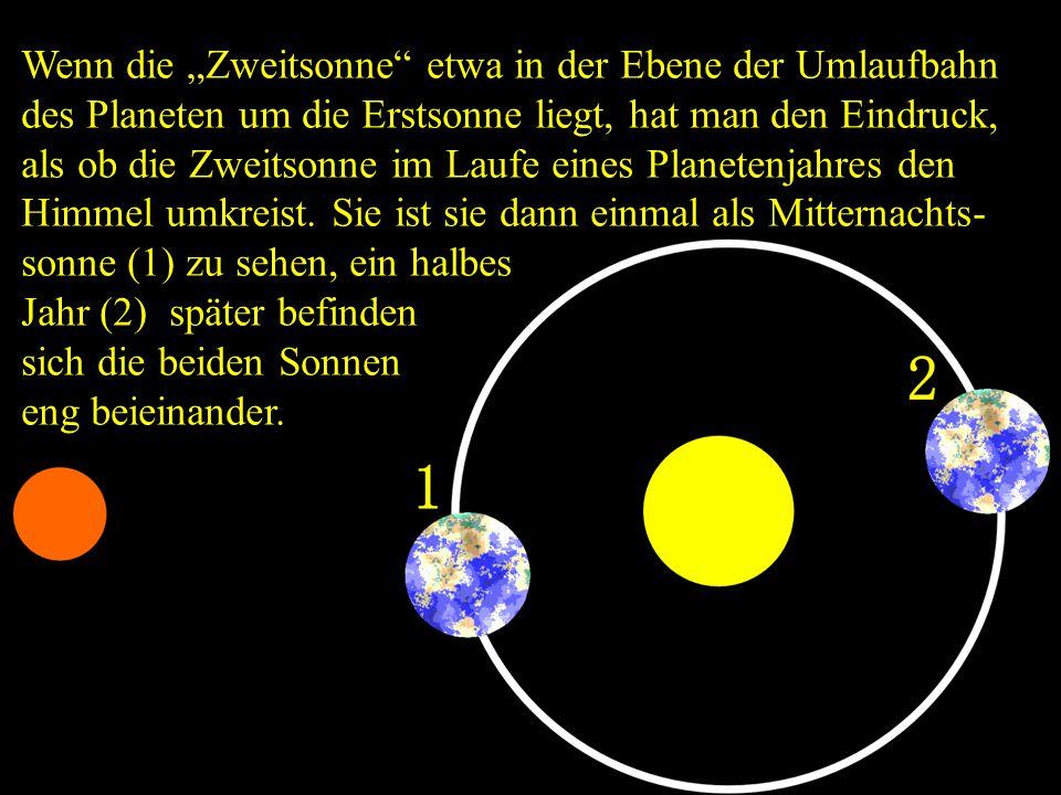 """Wenn die """"Zweitsonne"""" etwa in der Ebene der Umlaufbahn des Planeten um die Erstsonne liegt, hat man den Eindruck, als ob die Zweitsonne im Laufe eines"""