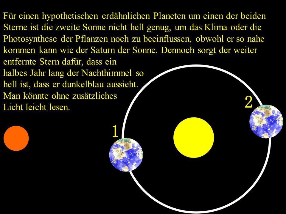 Für einen hypothetischen erdähnlichen Planeten um einen der beiden Sterne ist die zweite Sonne nicht hell genug, um das Klima oder die Photosynthese d