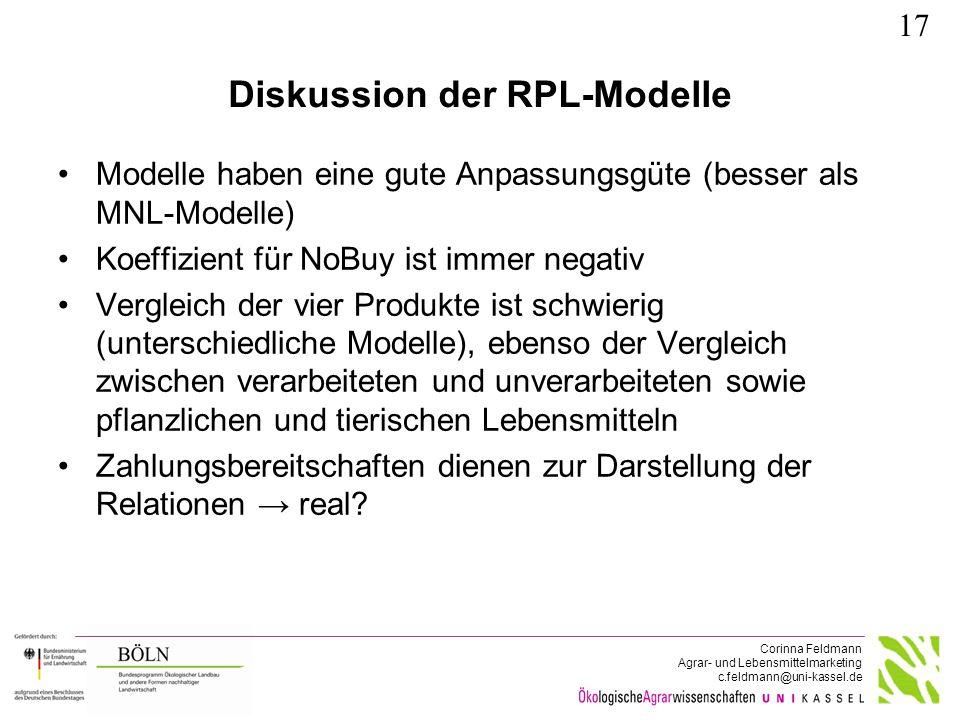 Corinna Feldmann Agrar- und Lebensmittelmarketing c.feldmann@uni-kassel.de Diskussion der RPL-Modelle Modelle haben eine gute Anpassungsgüte (besser a