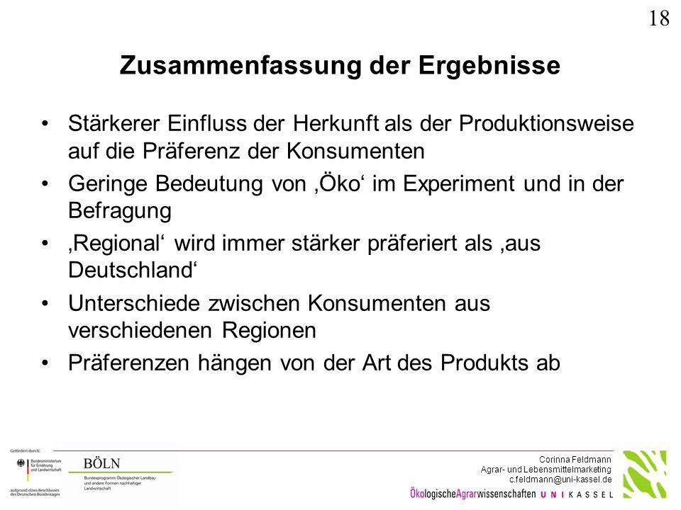 Corinna Feldmann Agrar- und Lebensmittelmarketing c.feldmann@uni-kassel.de Zusammenfassung der Ergebnisse Stärkerer Einfluss der Herkunft als der Prod