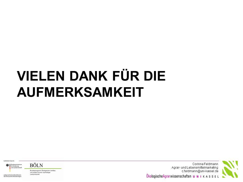 Corinna Feldmann Agrar- und Lebensmittelmarketing c.feldmann@uni-kassel.de VIELEN DANK FÜR DIE AUFMERKSAMKEIT