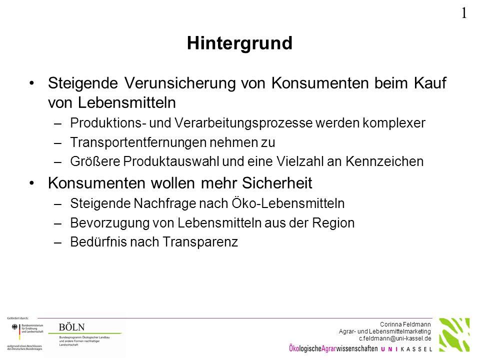 Corinna Feldmann Agrar- und Lebensmittelmarketing c.feldmann@uni-kassel.de Hintergrund Steigende Verunsicherung von Konsumenten beim Kauf von Lebensmi