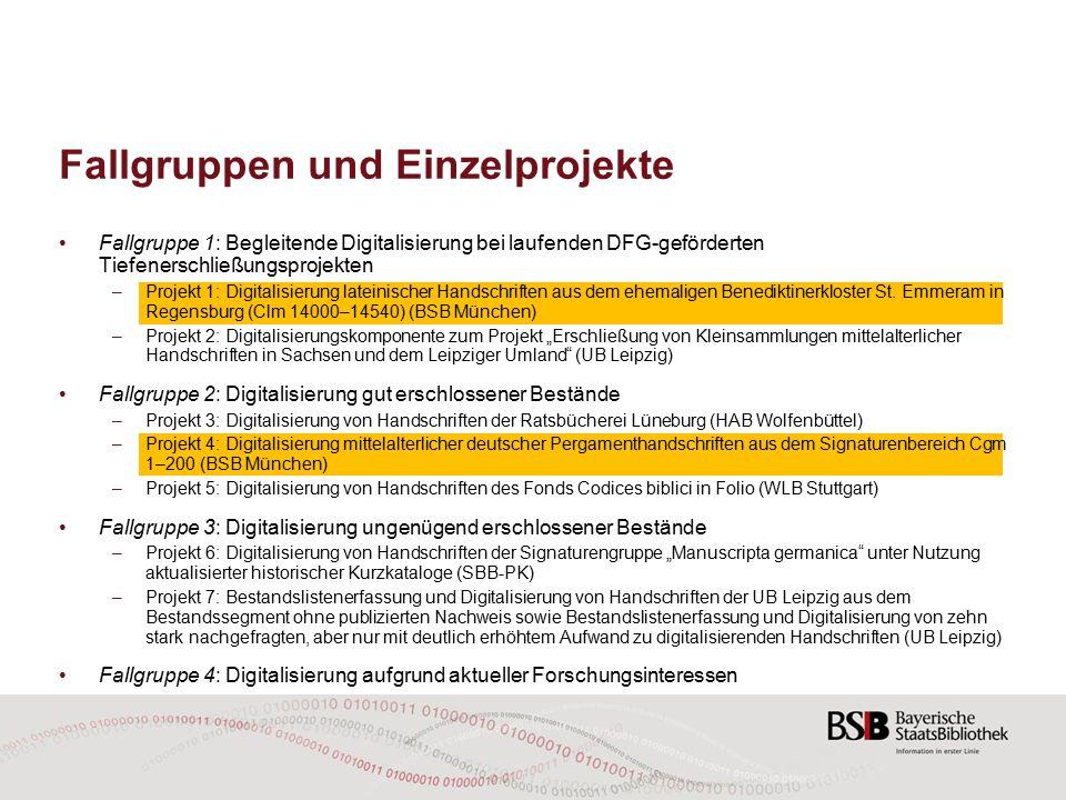 """Fallgruppen und Einzelprojekte Fallgruppe 5: """"Digitalisierung mit deutlich erhöhtem Aufwand Hss."""