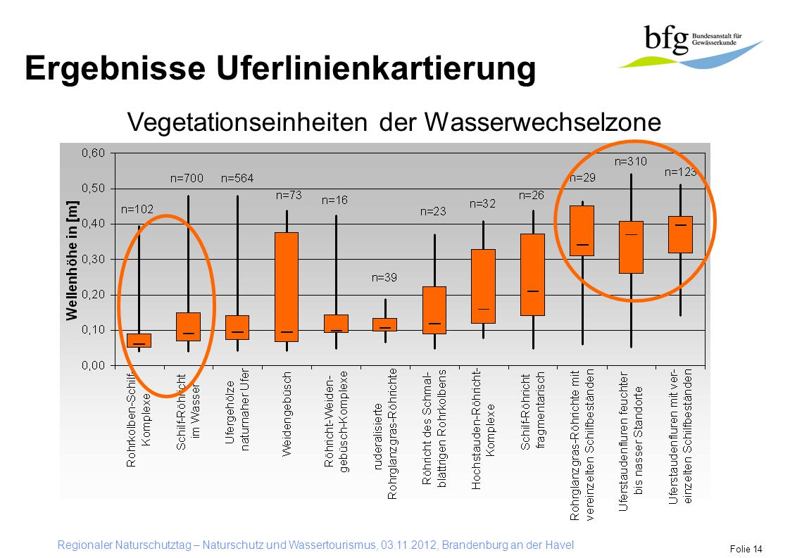 Regionaler Naturschutztag – Naturschutz und Wassertourismus, 03.11.2012, Brandenburg an der Havel Folie 14 Vegetationseinheiten der Wasserwechselzone Ergebnisse Uferlinienkartierung