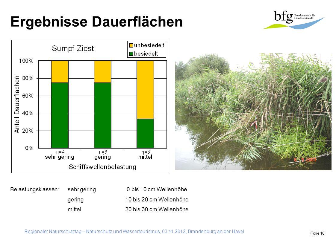 Regionaler Naturschutztag – Naturschutz und Wassertourismus, 03.11.2012, Brandenburg an der Havel Folie 16 Ergebnisse Dauerflächen Belastungsklassen: