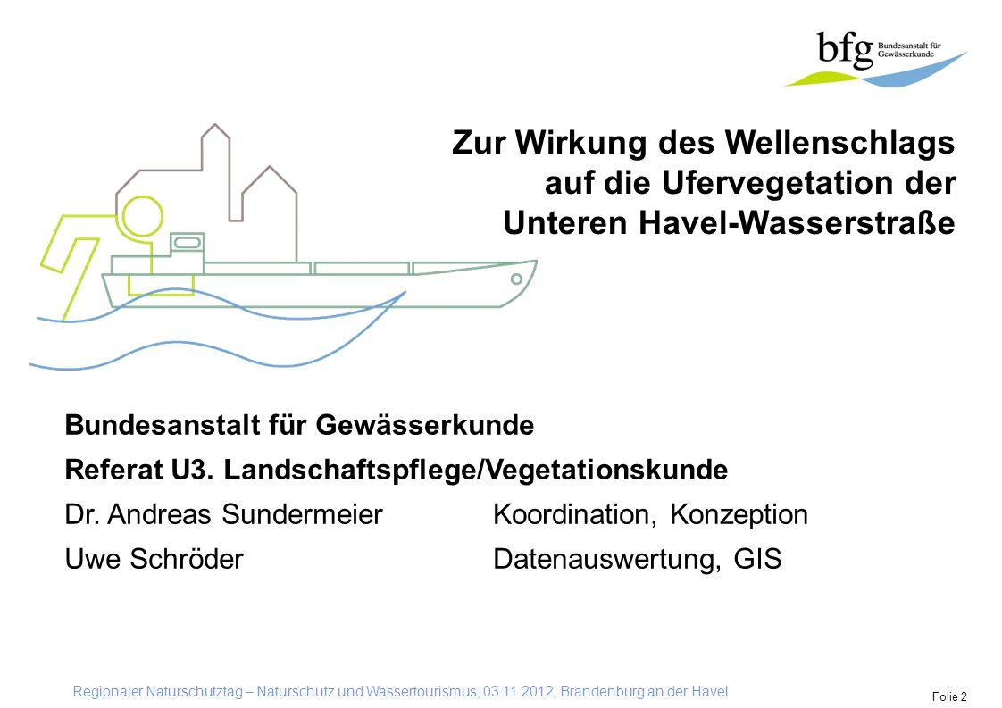 Regionaler Naturschutztag – Naturschutz und Wassertourismus, 03.11.2012, Brandenburg an der Havel Folie 2 Zur Wirkung des Wellenschlags auf die Uferve