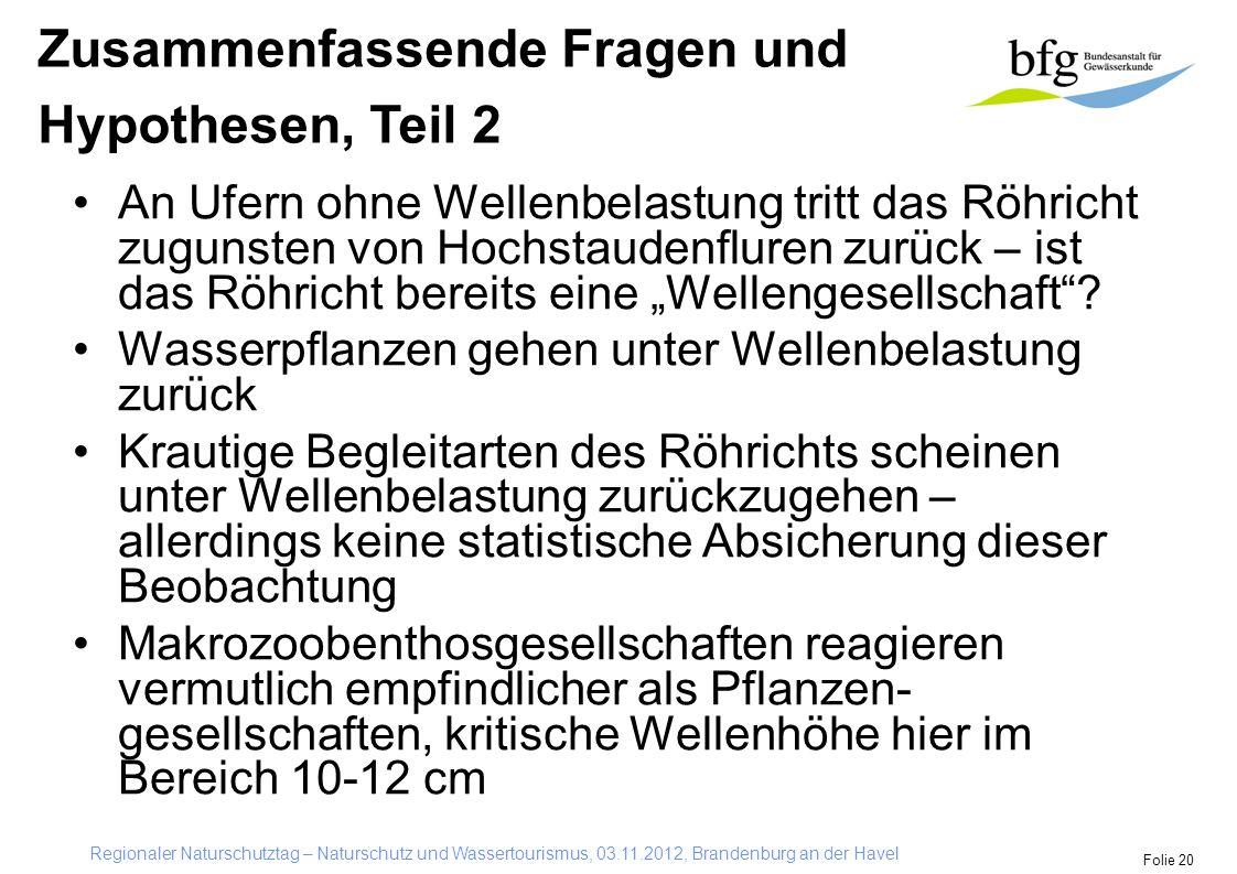 """Regionaler Naturschutztag – Naturschutz und Wassertourismus, 03.11.2012, Brandenburg an der Havel Folie 20 An Ufern ohne Wellenbelastung tritt das Röhricht zugunsten von Hochstaudenfluren zurück – ist das Röhricht bereits eine """"Wellengesellschaft ."""