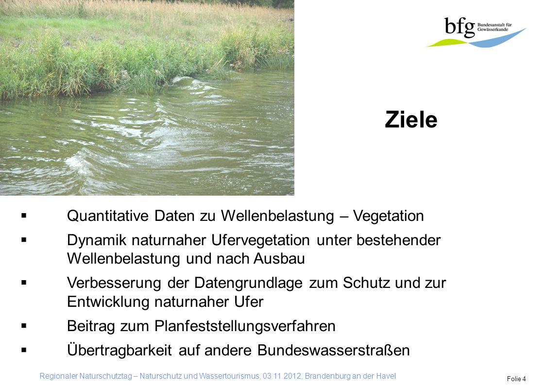 Regionaler Naturschutztag – Naturschutz und Wassertourismus, 03.11.2012, Brandenburg an der Havel Folie 4 Ziele  Quantitative Daten zu Wellenbelastun