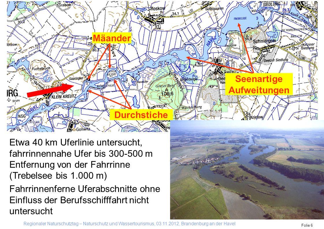 Regionaler Naturschutztag – Naturschutz und Wassertourismus, 03.11.2012, Brandenburg an der Havel Folie 6 Mäander Seenartige Aufweitungen Durchstiche