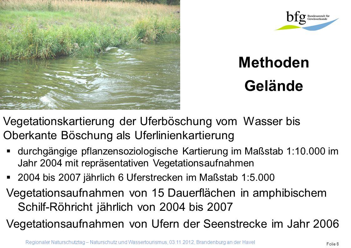 Regionaler Naturschutztag – Naturschutz und Wassertourismus, 03.11.2012, Brandenburg an der Havel Folie 8 Methoden Gelände Vegetationskartierung der U