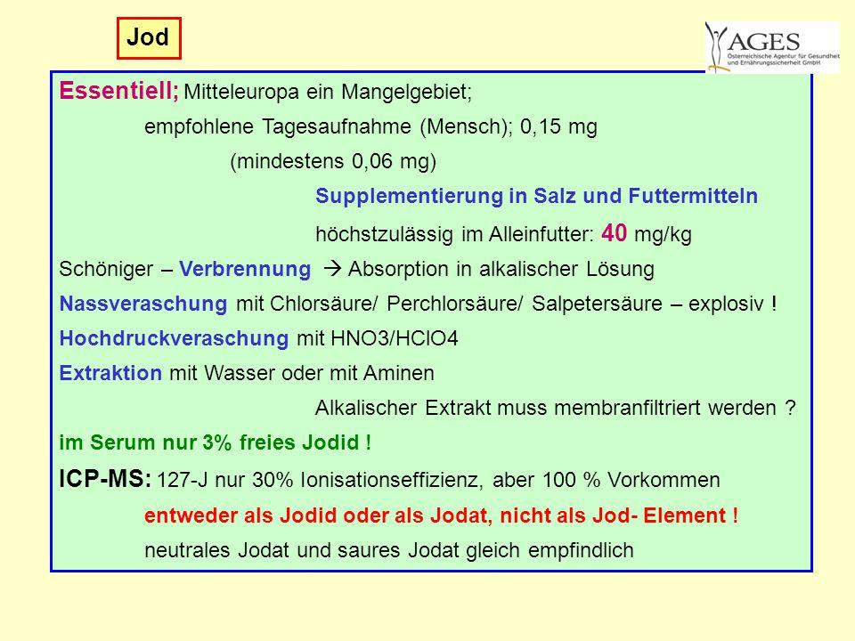 Jod Essentiell; Mitteleuropa ein Mangelgebiet; empfohlene Tagesaufnahme (Mensch); 0,15 mg (mindestens 0,06 mg) Supplementierung in Salz und Futtermitt