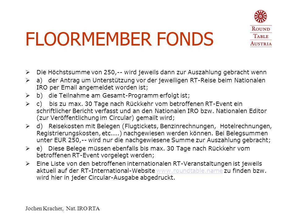 Jochen Kracher, Nat. IRO RTA FLOORMEMBER FONDS  Beim AGM 2005 in Lienz hat der Nationale Vorstand von RTA ein neues Reglement für die Vergabe von Mit