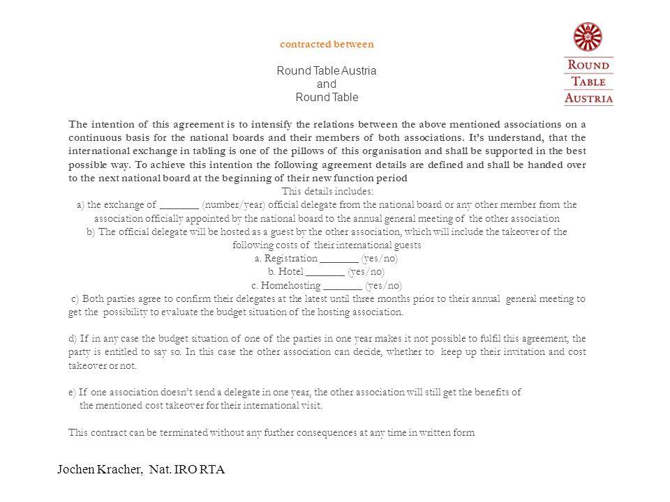 Jochen Kracher, Nat. IRO RTA RTA Verträge  Diese Verträge (derzeit bestehen welche mit Belgien, Deutschland, Estland, Italien, Luxemburg, Schweden, S
