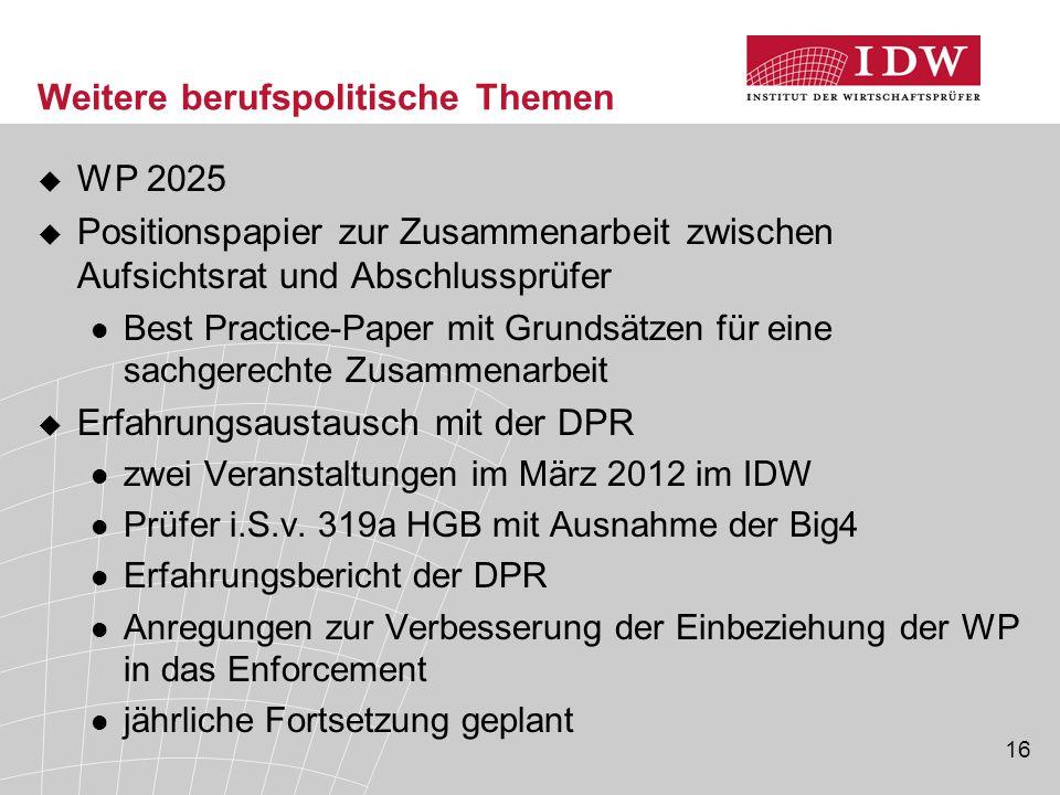 16 Weitere berufspolitische Themen  WP 2025  Positionspapier zur Zusammenarbeit zwischen Aufsichtsrat und Abschlussprüfer Best Practice-Paper mit Gr