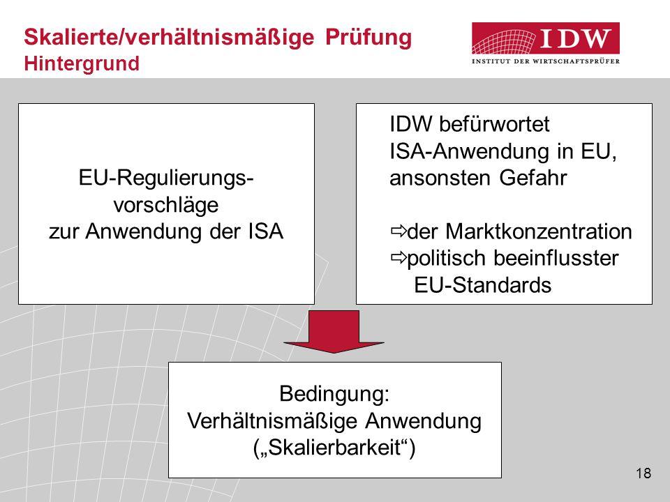 18 Skalierte/verhältnismäßige Prüfung Hintergrund EU-Regulierungs- vorschläge zur Anwendung der ISA IDW befürwortet ISA-Anwendung in EU, ansonsten Gef