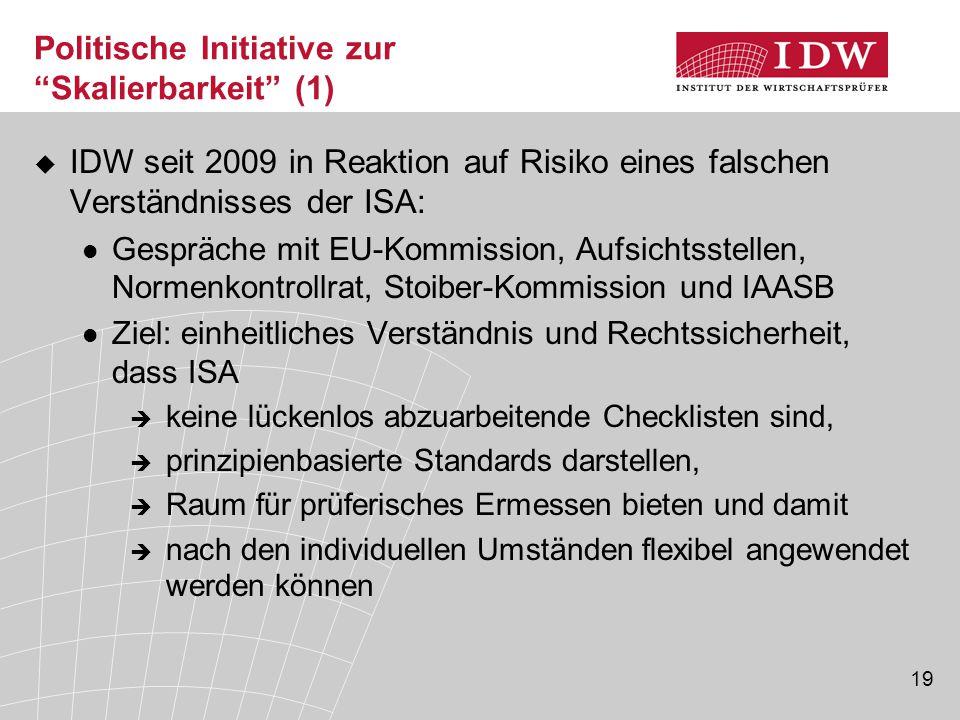 """19 Politische Initiative zur """"Skalierbarkeit"""" (1)  IDW seit 2009 in Reaktion auf Risiko eines falschen Verständnisses der ISA: Gespräche mit EU-Kommi"""
