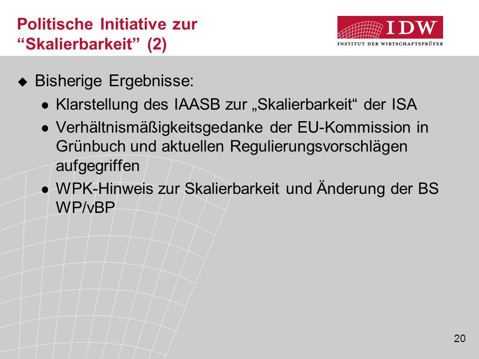 """20 Politische Initiative zur """"Skalierbarkeit"""" (2)  Bisherige Ergebnisse: Klarstellung des IAASB zur """"Skalierbarkeit"""" der ISA Verhältnismäßigkeitsgeda"""