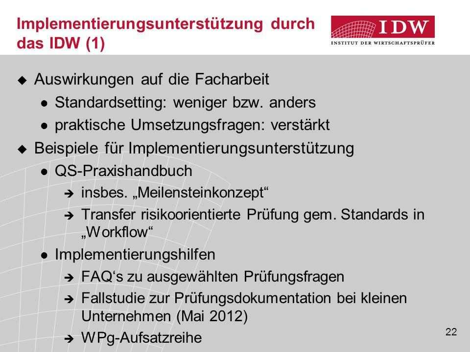 22 Implementierungsunterstützung durch das IDW (1)  Auswirkungen auf die Facharbeit Standardsetting: weniger bzw. anders praktische Umsetzungsfragen: