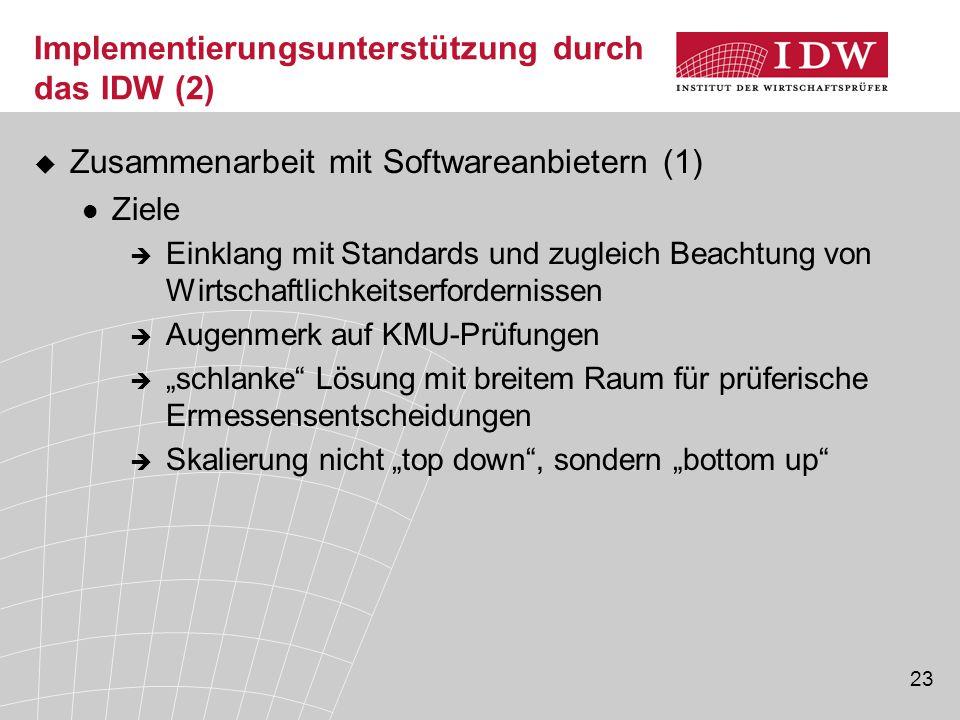 23 Implementierungsunterstützung durch das IDW (2)  Zusammenarbeit mit Softwareanbietern (1) Ziele  Einklang mit Standards und zugleich Beachtung vo