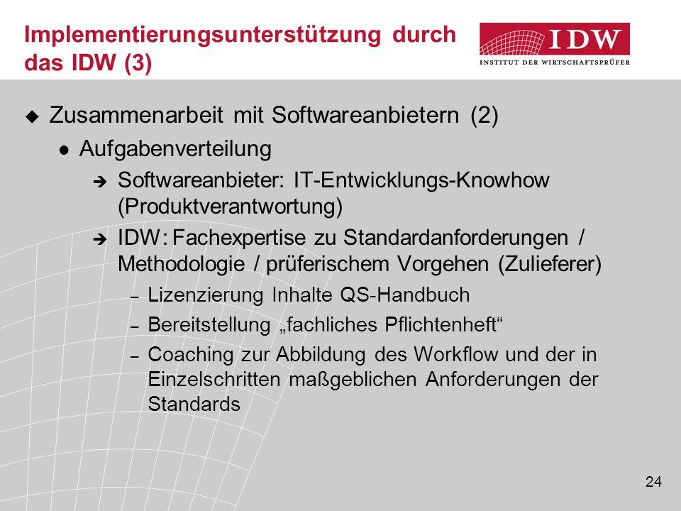 24 Implementierungsunterstützung durch das IDW (3)  Zusammenarbeit mit Softwareanbietern (2) Aufgabenverteilung  Softwareanbieter: IT-Entwicklungs-K