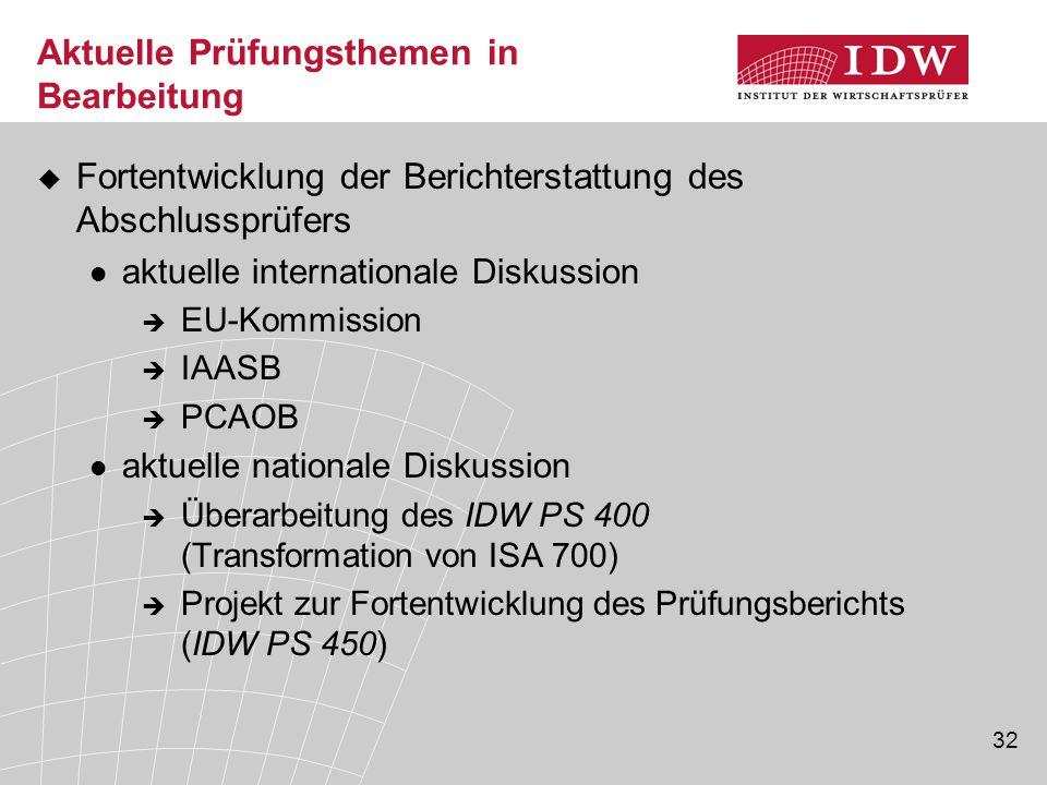 32 Aktuelle Prüfungsthemen in Bearbeitung  Fortentwicklung der Berichterstattung des Abschlussprüfers aktuelle internationale Diskussion  EU-Kommiss