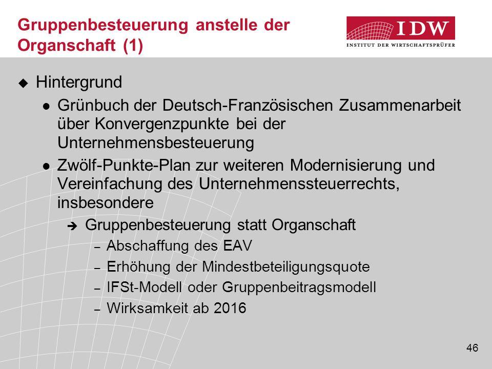 46 Gruppenbesteuerung anstelle der Organschaft (1)  Hintergrund Grünbuch der Deutsch-Französischen Zusammenarbeit über Konvergenzpunkte bei der Unter