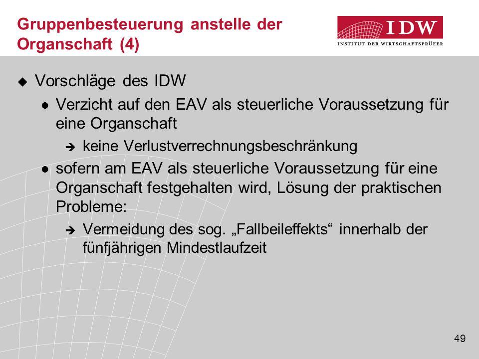 49 Gruppenbesteuerung anstelle der Organschaft (4)  Vorschläge des IDW Verzicht auf den EAV als steuerliche Voraussetzung für eine Organschaft  kein