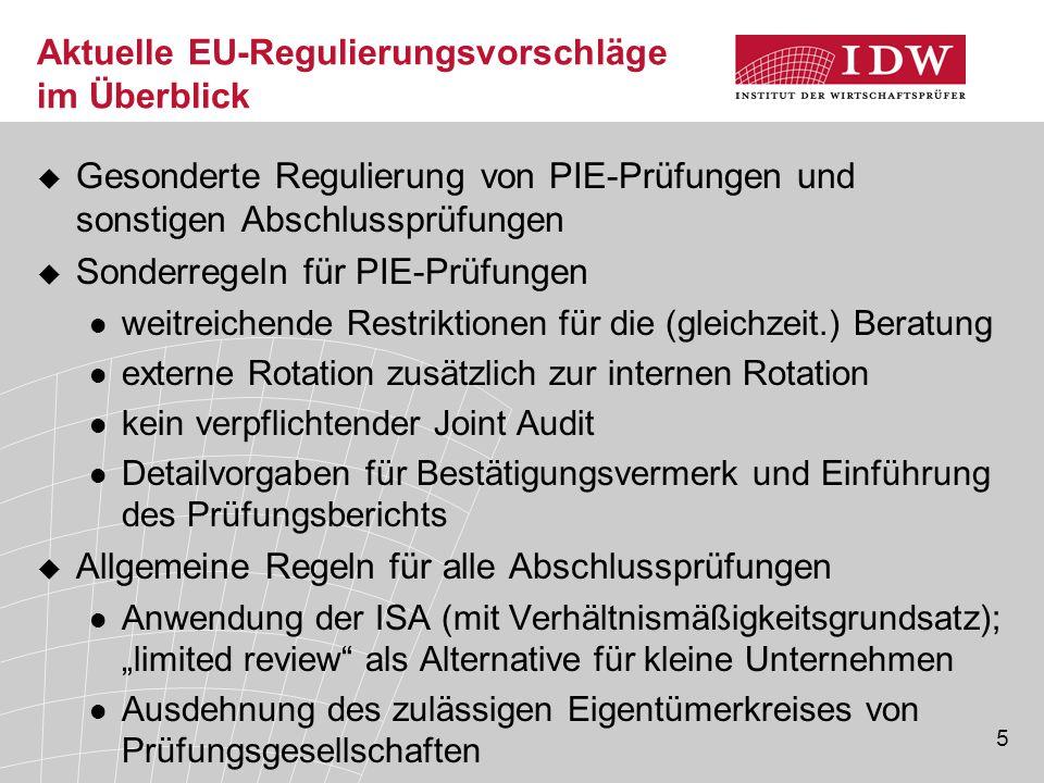 5 Aktuelle EU-Regulierungsvorschläge im Überblick  Gesonderte Regulierung von PIE-Prüfungen und sonstigen Abschlussprüfungen  Sonderregeln für PIE-P