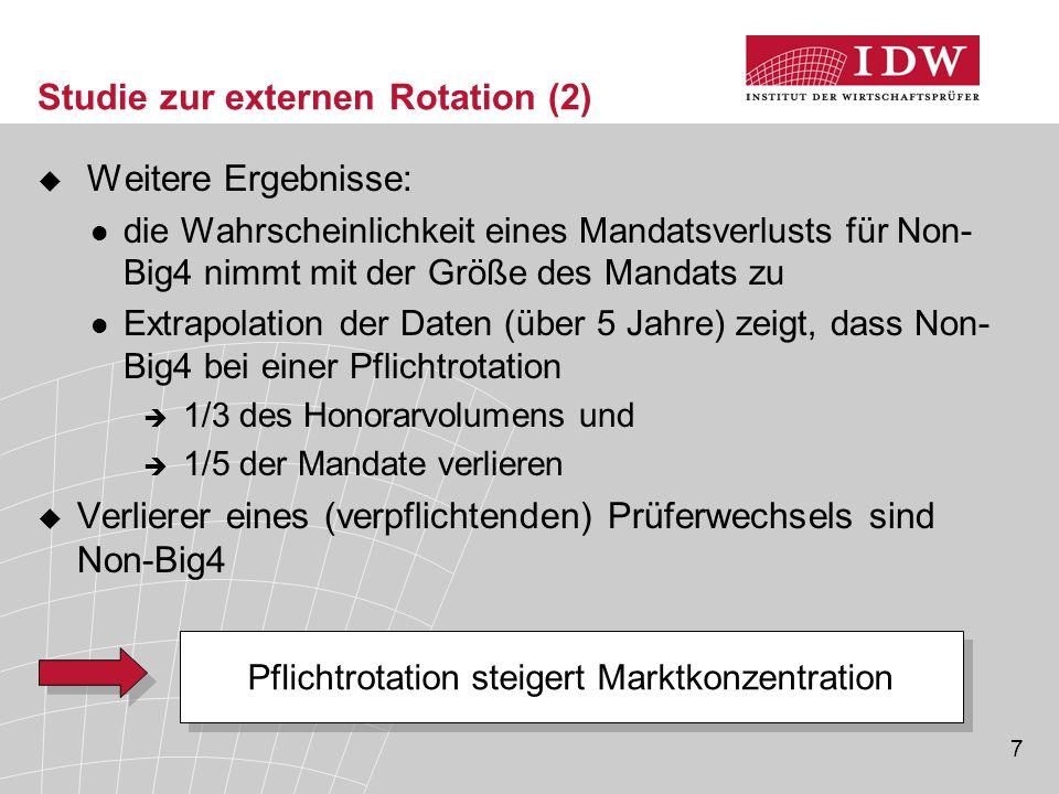 7 Studie zur externen Rotation (2)  Weitere Ergebnisse: die Wahrscheinlichkeit eines Mandatsverlusts für Non- Big4 nimmt mit der Größe des Mandats zu
