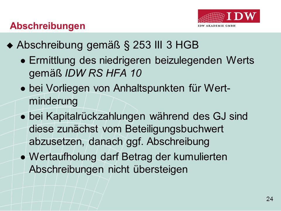 24 Abschreibungen  Abschreibung gemäß § 253 III 3 HGB Ermittlung des niedrigeren beizulegenden Werts gemäß IDW RS HFA 10 bei Vorliegen von Anhaltspun