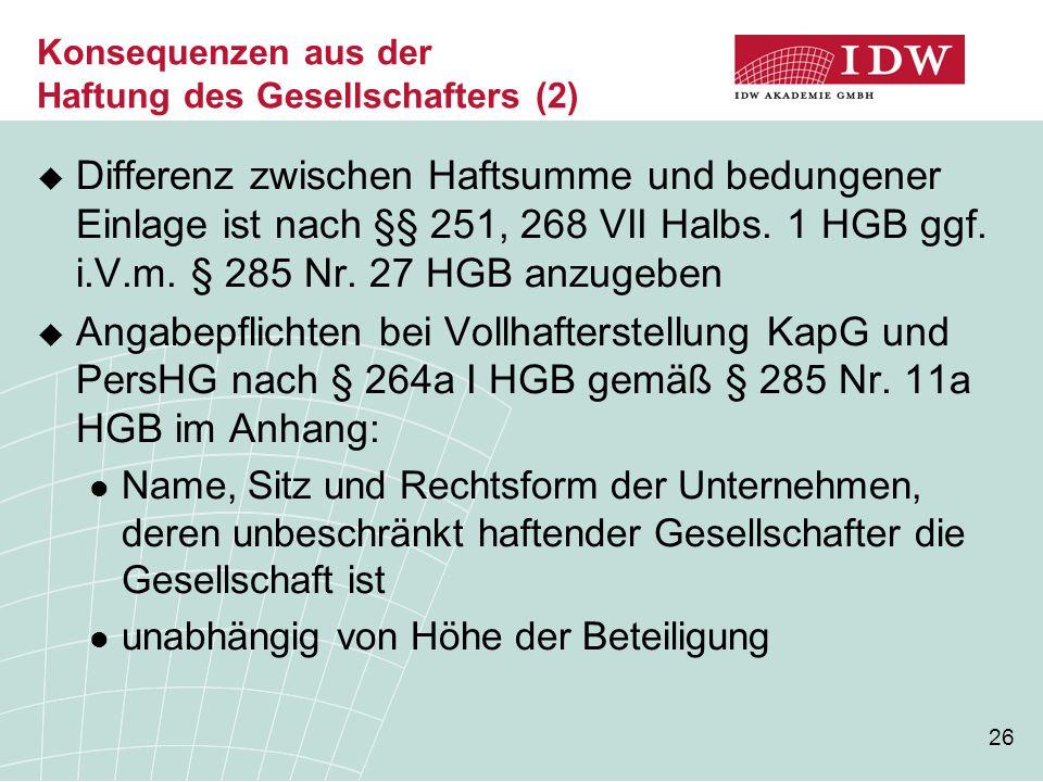 26  Differenz zwischen Haftsumme und bedungener Einlage ist nach §§ 251, 268 VII Halbs. 1 HGB ggf. i.V.m. § 285 Nr. 27 HGB anzugeben  Angabepflichte