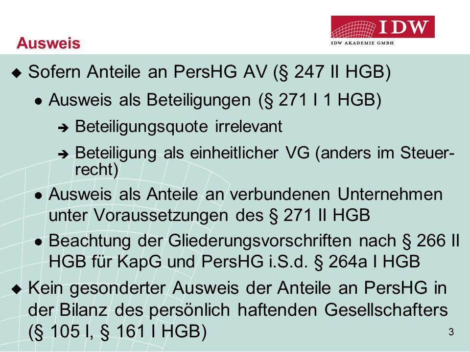 3 Ausweis  Sofern Anteile an PersHG AV (§ 247 II HGB) Ausweis als Beteiligungen (§ 271 I 1 HGB)  Beteiligungsquote irrelevant  Beteiligung als einh