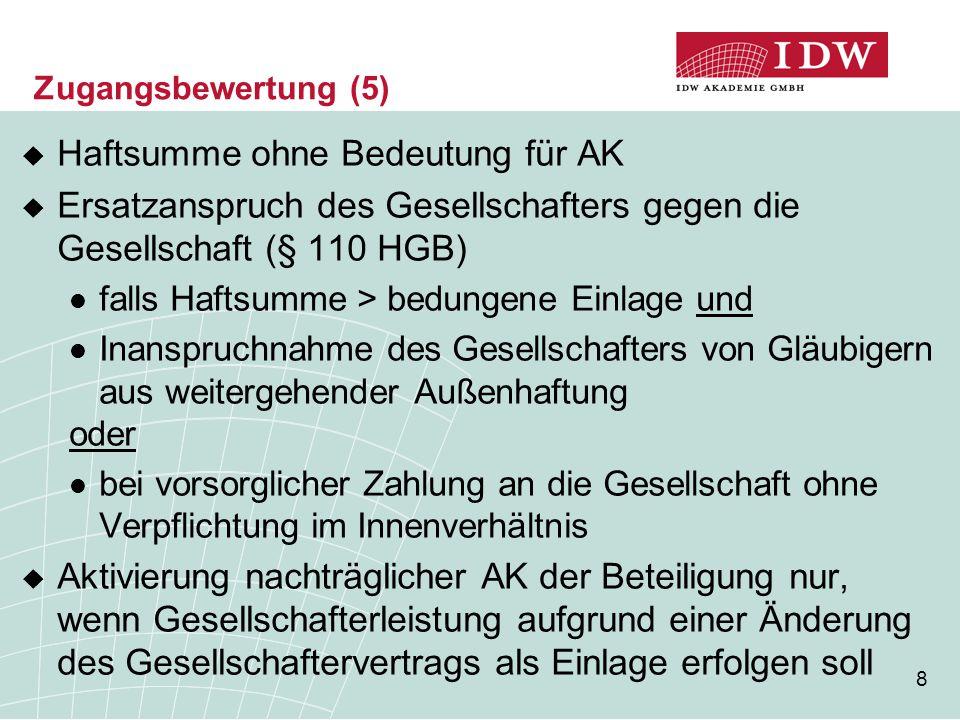 8 Zugangsbewertung (5)  Haftsumme ohne Bedeutung für AK  Ersatzanspruch des Gesellschafters gegen die Gesellschaft (§ 110 HGB) falls Haftsumme > bed