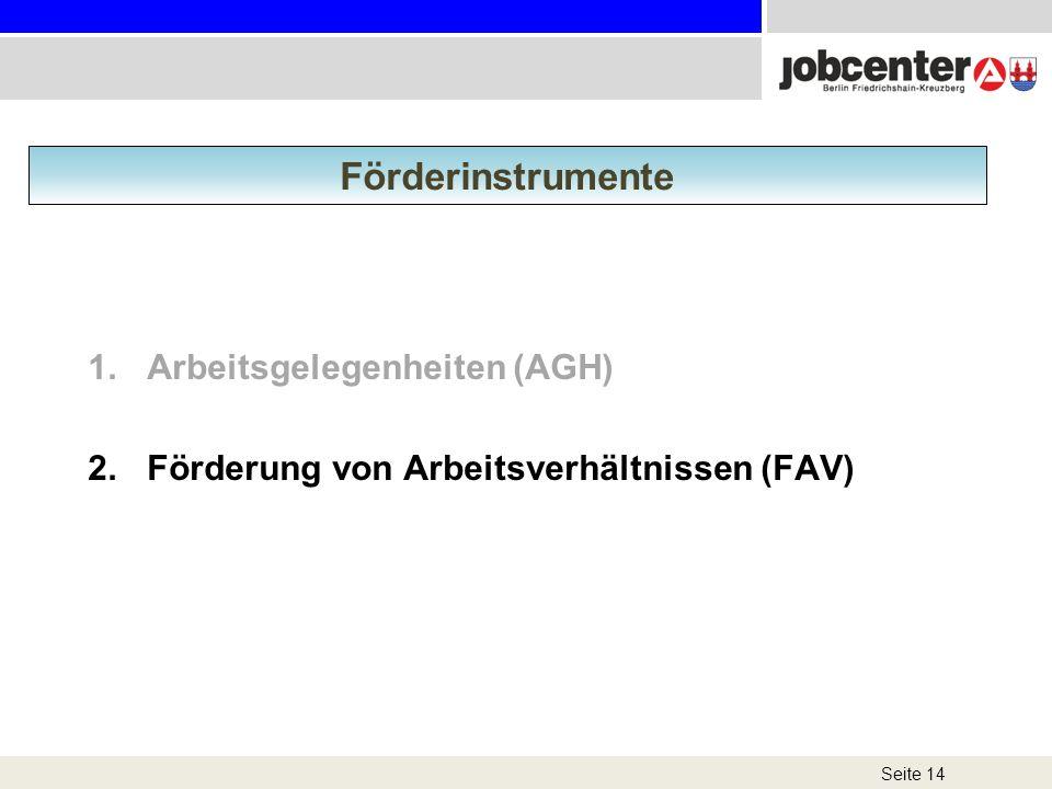 1.Arbeitsgelegenheiten (AGH) 2.Förderung von Arbeitsverhältnissen (FAV) Seite 14 Förderinstrumente