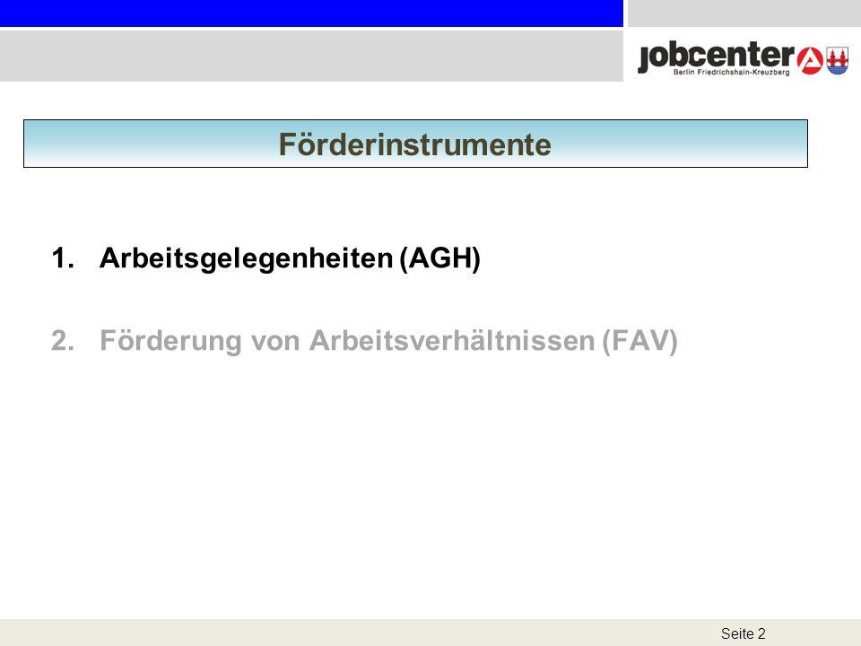 1.Arbeitsgelegenheiten (AGH) 2.Förderung von Arbeitsverhältnissen (FAV) Seite 2 Förderinstrumente