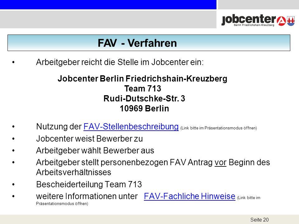 Seite 20 Arbeitgeber reicht die Stelle im Jobcenter ein: Nutzung der FAV-Stellenbeschreibung (Link bitte im Präsentationsmodus öffnen)FAV-Stellenbesch