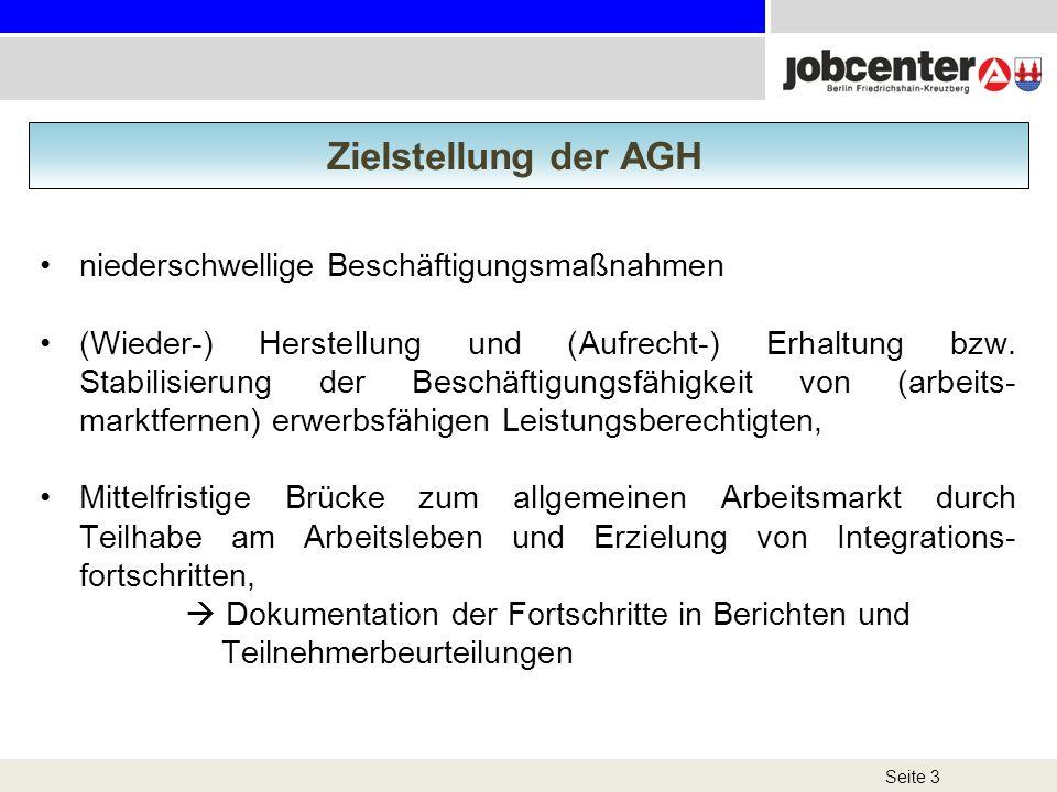Seite 3 Zielstellung der AGH niederschwellige Beschäftigungsmaßnahmen (Wieder-) Herstellung und (Aufrecht-) Erhaltung bzw. Stabilisierung der Beschäft