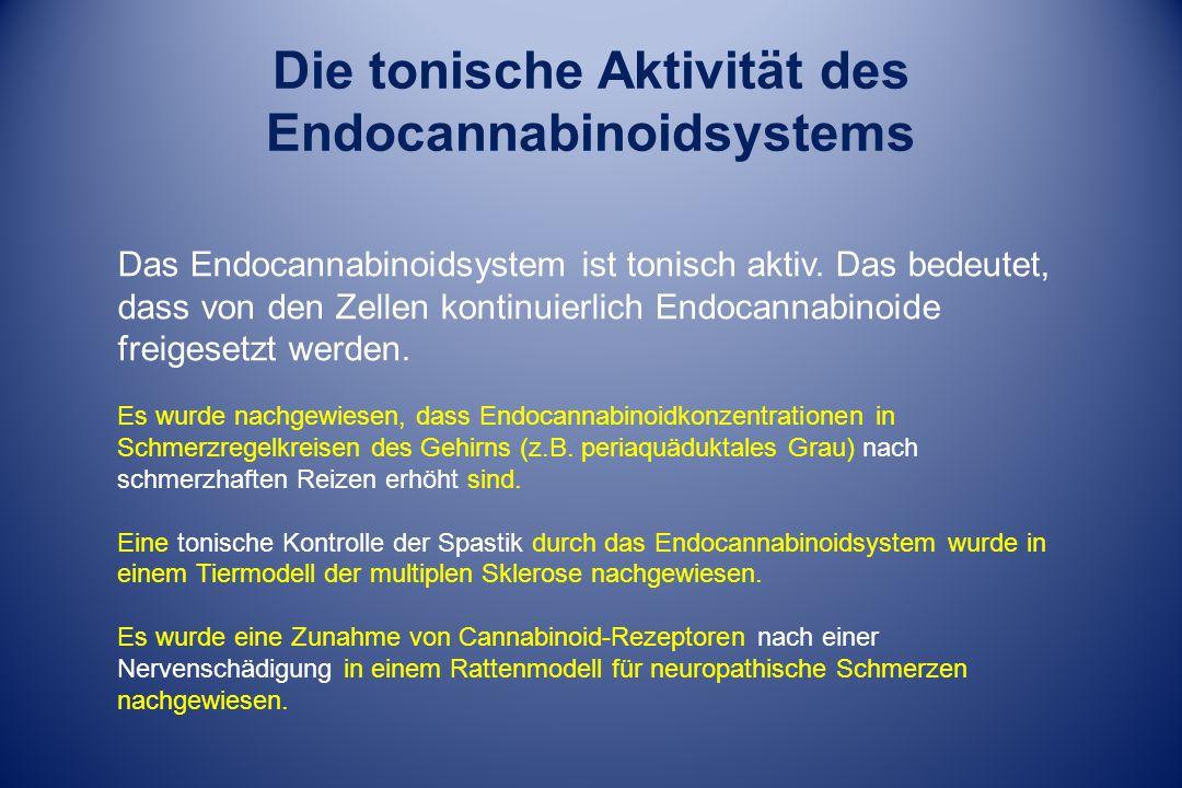 Die tonische Aktivität des Endocannabinoidsystems Das Endocannabinoidsystem ist tonisch aktiv. Das bedeutet, dass von den Zellen kontinuierlich Endoca