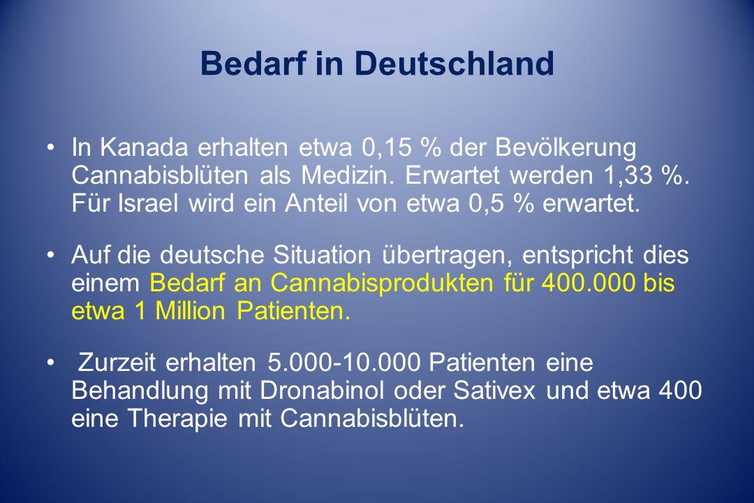 Bedarf in Deutschland In Kanada erhalten etwa 0,15 % der Bevölkerung Cannabisblüten als Medizin. Erwartet werden 1,33 %. Für Israel wird ein Anteil vo