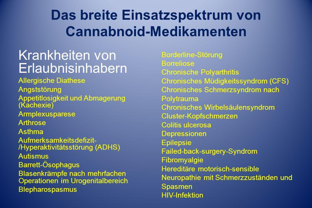 Das breite Einsatzspektrum von Cannabnoid-Medikamenten Krankheiten von Erlaubnisinhabern Allergische Diathese Angststörung Appetitlosigkeit und Abmagerung (Kachexie) Armplexusparese Arthrose Asthma Aufmerksamkeitsdefizit- /Hyperaktivitätsstörung (ADHS) Autismus Barrett-Ösophagus Blasenkrämpfe nach mehrfachen Operationen im Urogenitalbereich Blepharospasmus Borderline-Störung Borreliose Chronische Polyarthritis Chronisches Müdigkeitssyndrom (CFS) Chronisches Schmerzsyndrom nach Polytrauma Chronisches Wirbelsäulensyndrom Cluster-Kopfschmerzen Colitis ulcerosa Depressionen Epilepsie Failed-back-surgery-Syndrom Fibromyalgie Hereditäre motorisch-sensible Neuropathie mit Schmerzzuständen und Spasmen HIV-Infektion