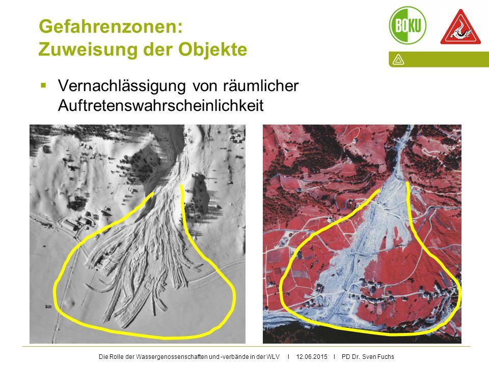 Die Rolle der Wassergenossenschaften und -verbände in der WLV I 12.06.2015 I PD Dr. Sven Fuchs Gefahrenzonen: Zuweisung der Objekte  Vernachlässigung