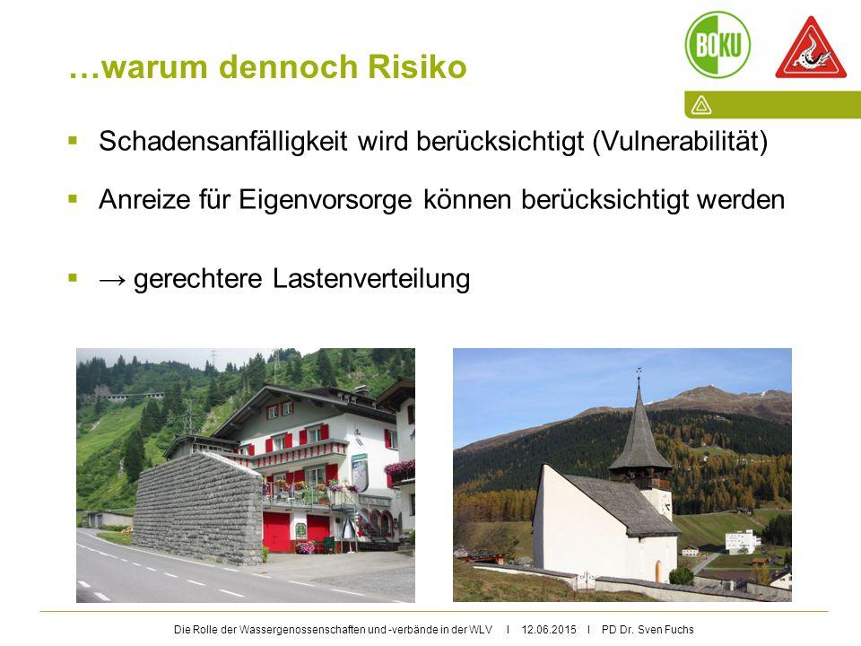 Die Rolle der Wassergenossenschaften und -verbände in der WLV I 12.06.2015 I PD Dr. Sven Fuchs …warum dennoch Risiko  Schadensanfälligkeit wird berüc