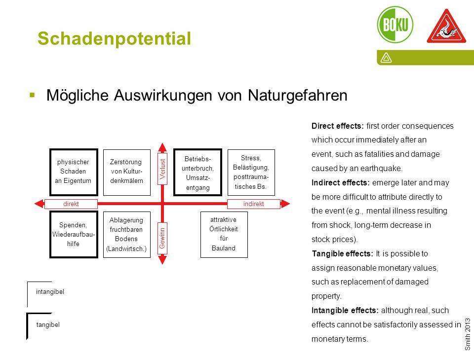 Die Rolle der Wassergenossenschaften und -verbände in der WLV I 12.06.2015 I PD Dr. Sven Fuchs Schadenpotential  Mögliche Auswirkungen von Naturgefah