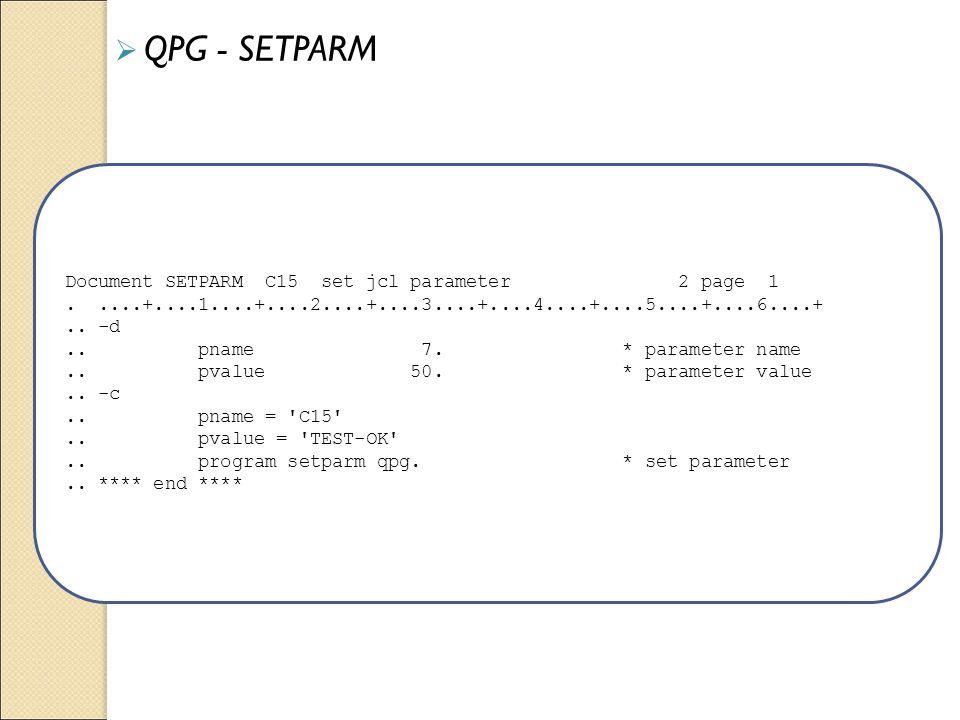 Document SETPARM C15 set jcl parameter 2 page 1.....+....1....+....2....+....3....+....4....+....5....+....6....+.. -d.. pname 7. * parameter name.. p