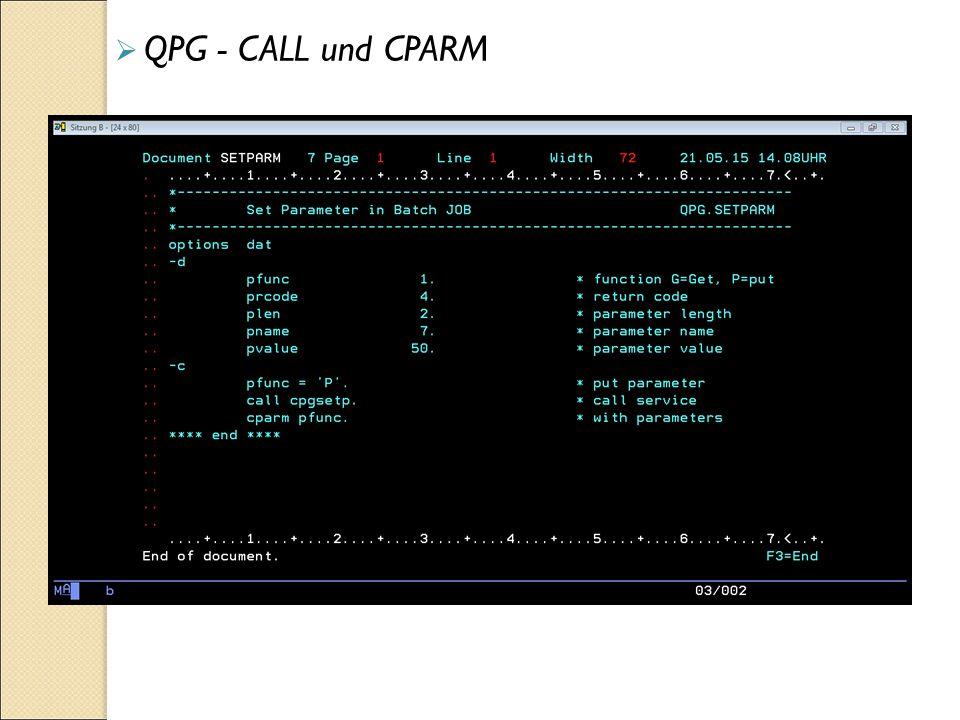  QPG - CALL und CPARM