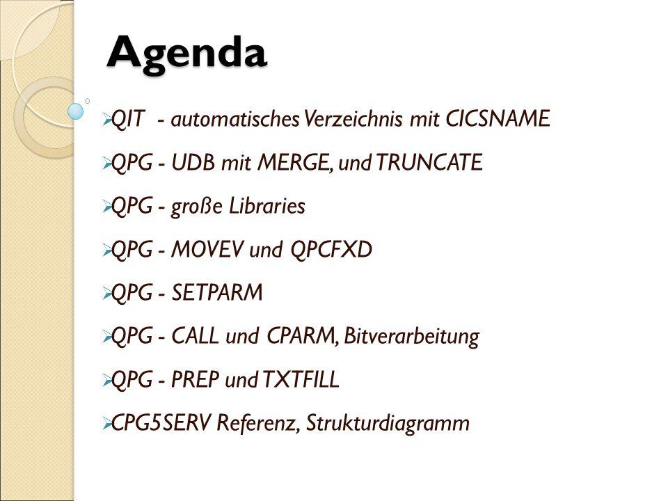  QIT - automatisches Verzeichnis mit CICSNAME  QPG - UDB mit MERGE, und TRUNCATE  QPG - große Libraries  QPG - MOVEV und QPCFXD  QPG - SETPARM  QPG - CALL und CPARM, Bitverarbeitung  QPG - PREP und TXTFILL  CPG5SERV Referenz, Strukturdiagramm Agenda