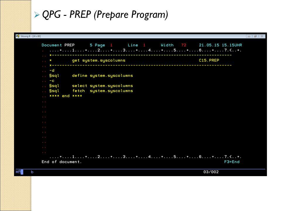  QPG - PREP (Prepare Program)