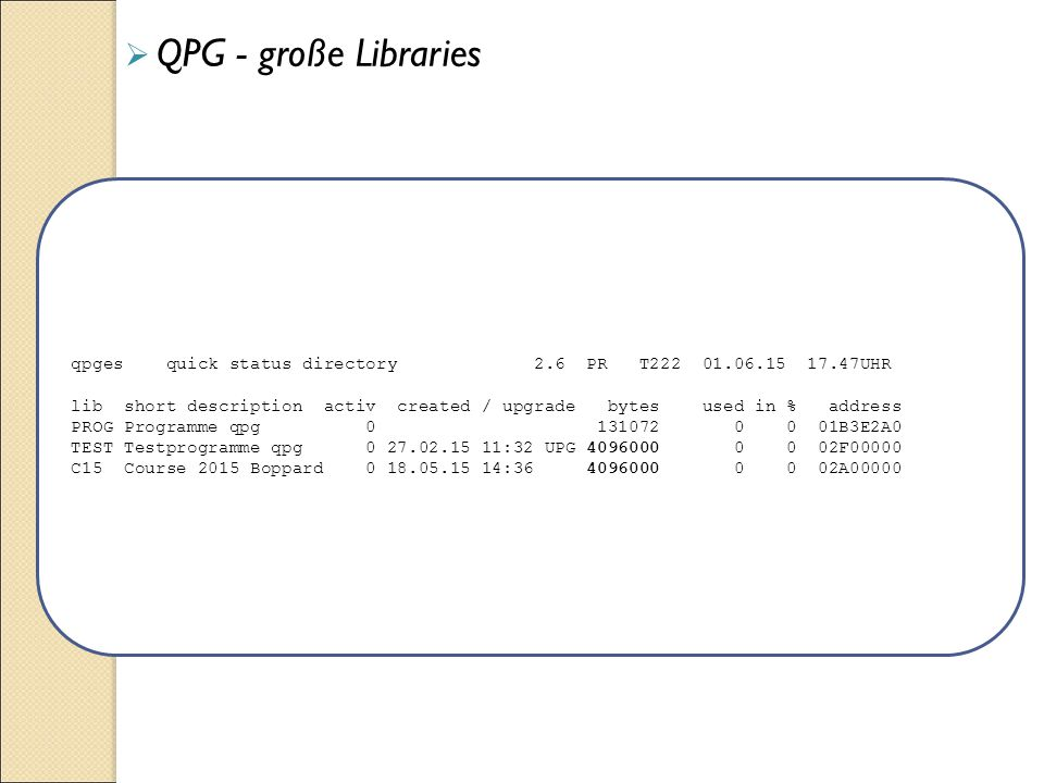  QPG - große Libraries qpges quick status directory 2.6 PR T222 01.06.15 17.47UHR lib short description activ created / upgrade bytes used in % address PROG Programme qpg 0 131072 0 0 01B3E2A0 TEST Testprogramme qpg 0 27.02.15 11:32 UPG 4096000 0 0 02F00000 C15 Course 2015 Boppard 0 18.05.15 14:36 4096000 0 0 02A00000