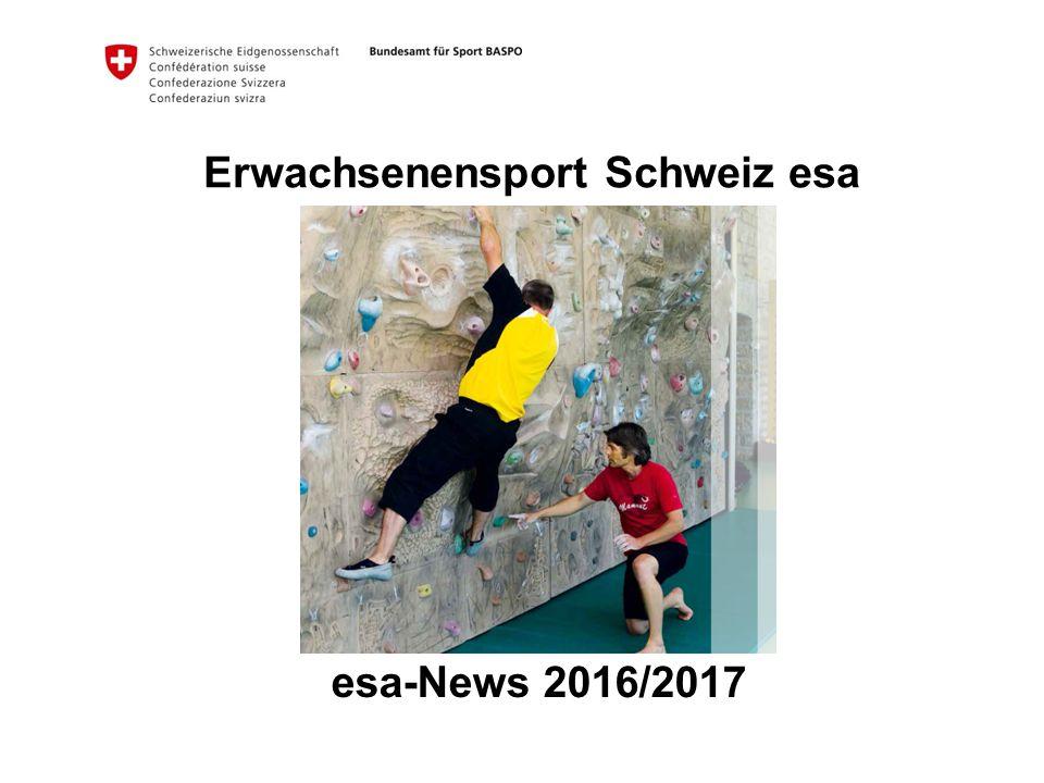 2 Bundesamt für Sport BASPO Erwachsenensport Sport Schweiz 2014 Entwicklungen in der esa-Ausbildung Neues Fortbildungsthema Neue bfu-Sicherheitsbroschüre Programmentwicklung 2012 – 2014 Themen