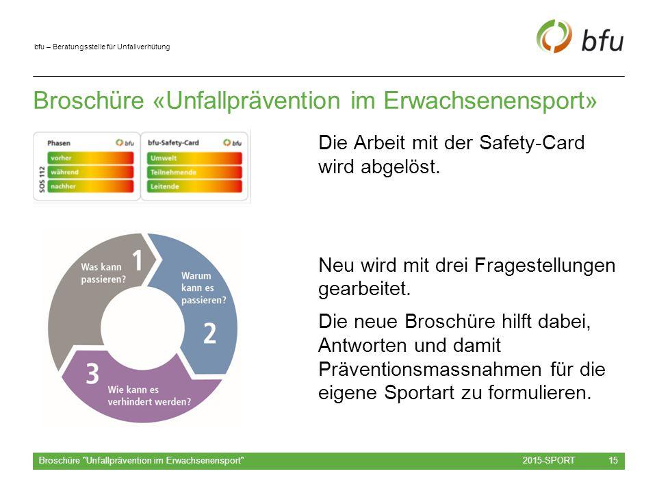 bfu – Beratungsstelle für Unfallverhütung Broschüre «Unfallprävention im Erwachsenensport» Die Arbeit mit der Safety-Card wird abgelöst.